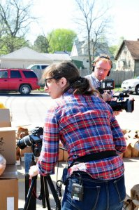 Filming at a food pantry in Moline IL for Poor Kids. March 2012.